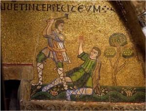 Фреска: Каин убивает своего брата Авеля